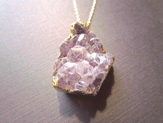Amethyst Jewelry - Gold Filled Necklace - Amethyst Necklace - Electroplated Amethyst Necklace -