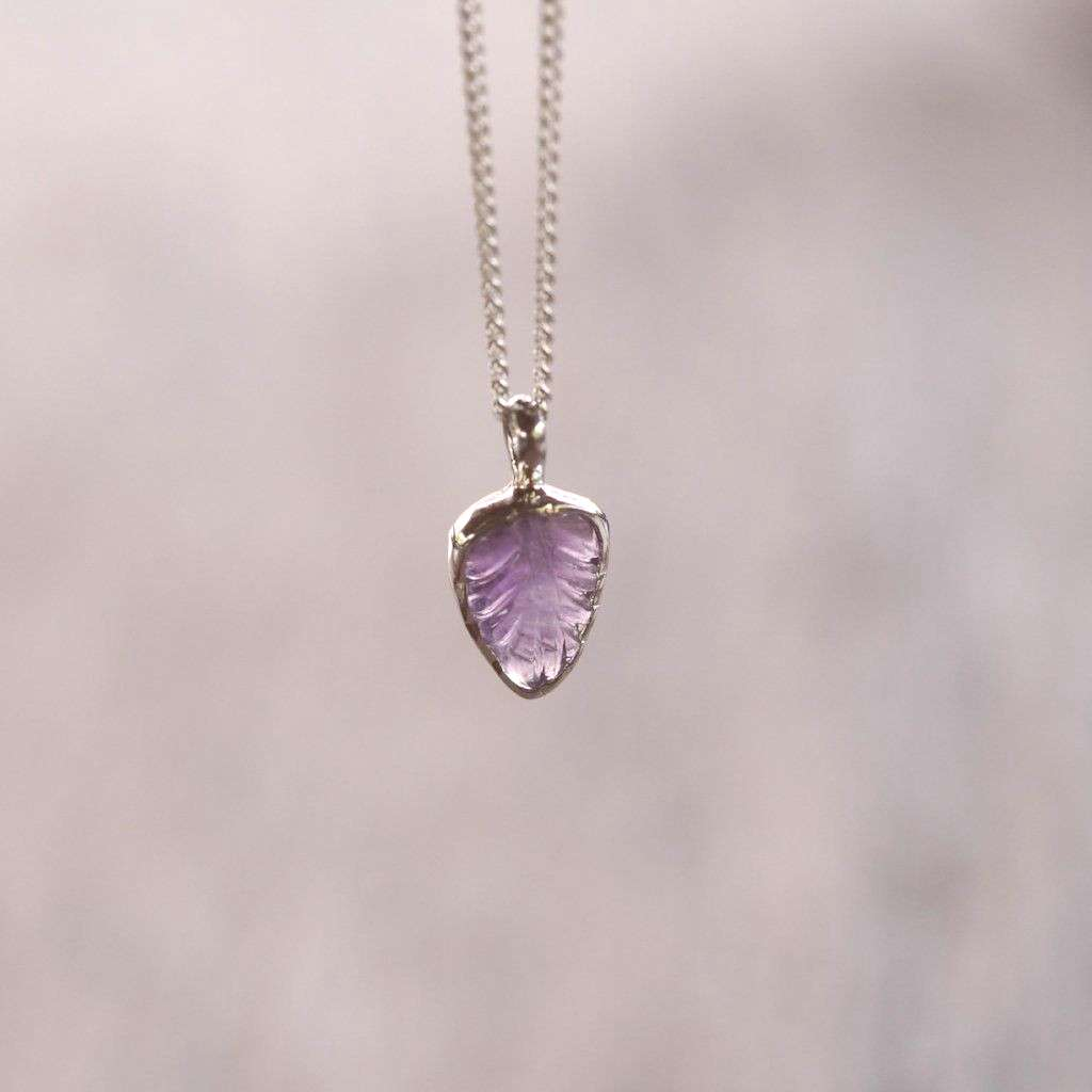 Amethyst Leaf Necklace - Gardens of the Sun | Ethical Jewelry