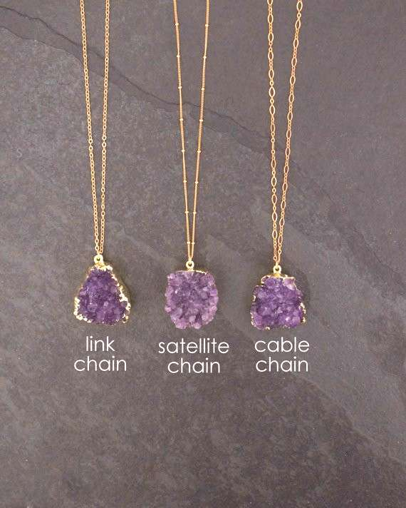 Amethyst Necklace / Amethyst Jewelry / Druzy Necklace / February Birthstone / Raw Crystal Necklace