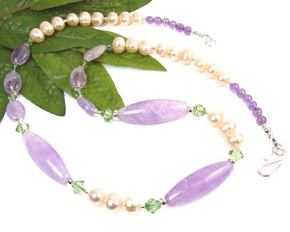 Amethyst Necklace, Freshwater Pearl Necklace, Pearl Gemstone Necklace, Purple Necklace, Statement J