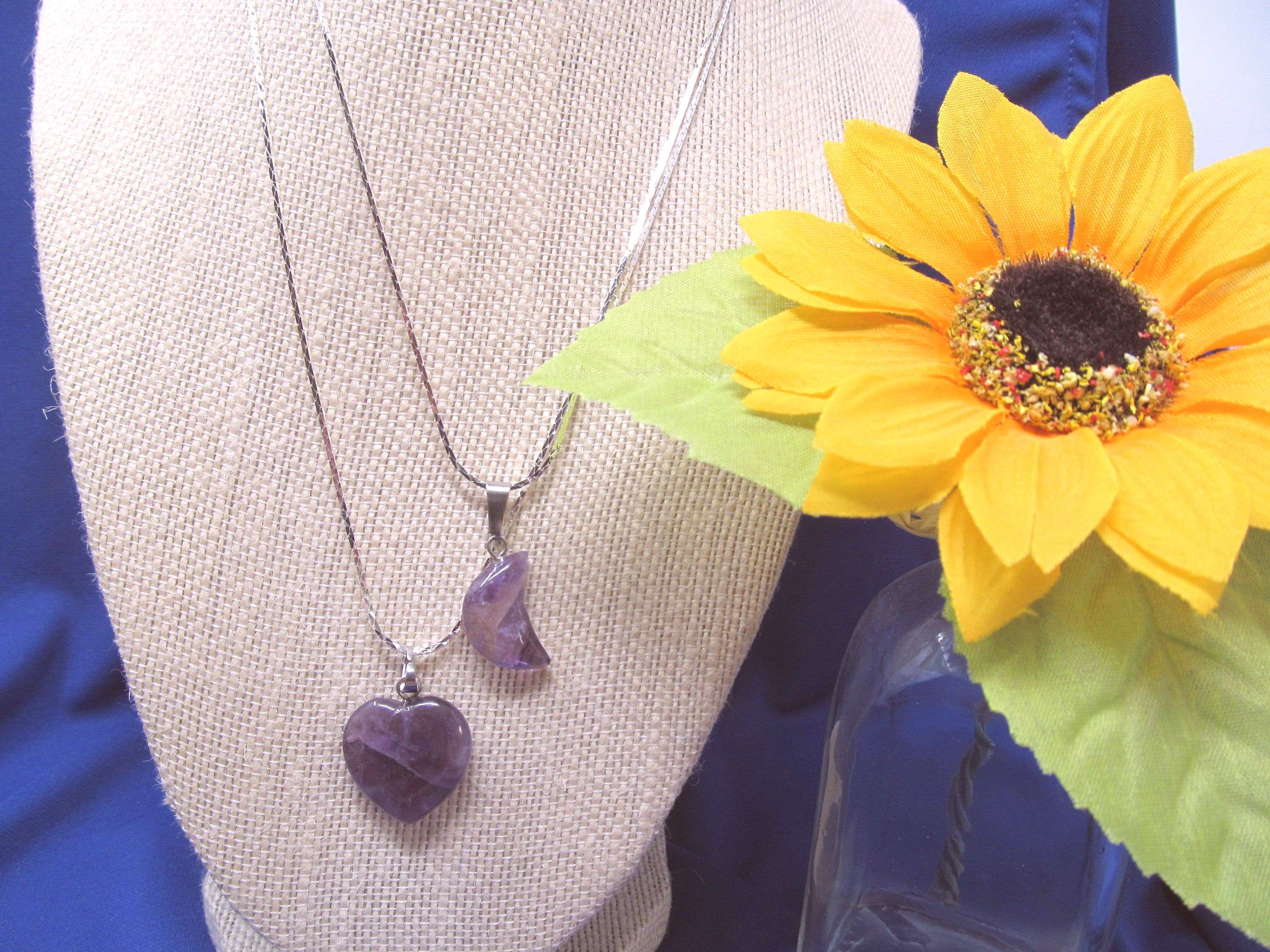 Amethyst Necklace Heart Or Moon, Sterling Silver 16