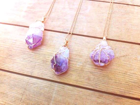 Amethyst Point Pendant Necklace | Mineral Wire Wrapped Stone Jewelry