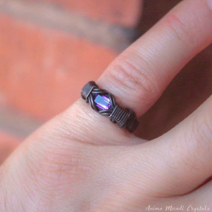 Amethyst Ring custom size, copper wire ring Alternative engagement rings festival ring Heady ring f