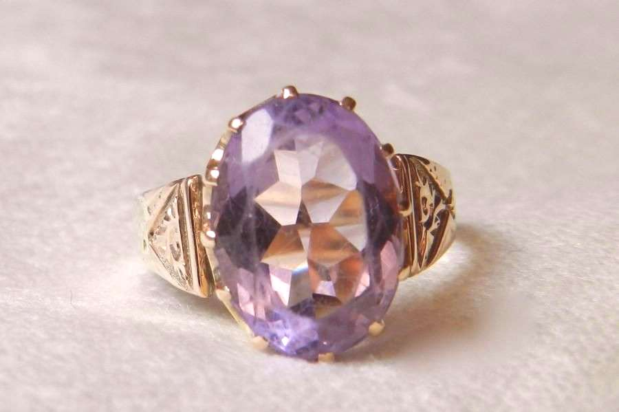 Amethyst Ring Victorian 4.5 Ct Amethyst Aesthetic Period Ring February Birthday 14K Rose Gold - Wed
