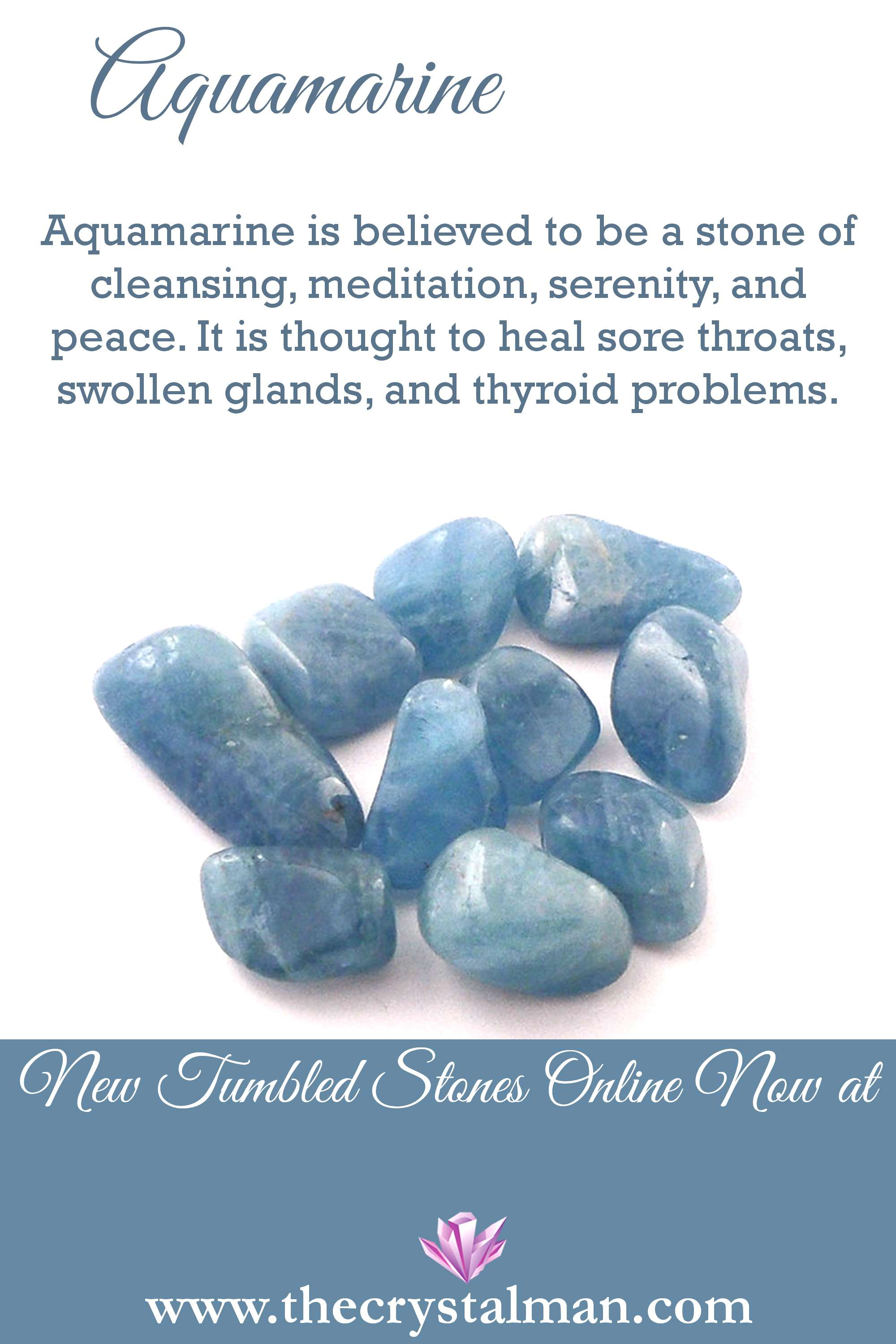Aquamarine ~ Cleansing-Meditation-Serenity-Peace-Sore Throats-Swollen Glands-Thyroid You can shop n