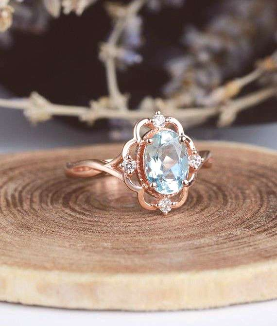 Aquamarine engagement ring vintage Rose gold  oval cut Antique Delicate diamond Half eternity Weddi