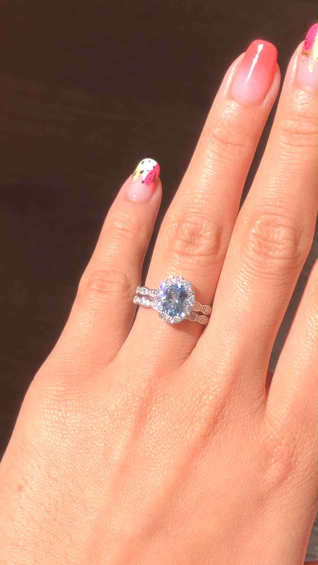 Aquamarine in White Gold Bridal Ring Set by La More Design  Looking for something blue? Look no fur