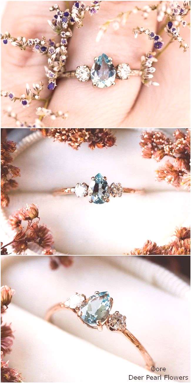 Aquamarine pear moissanite and 14k gold twig engagement ring -