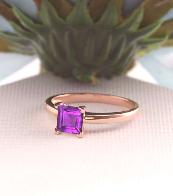 Asscher Cut Ring, 1CT Natural Amethyst Ring, Solitaire Purple Gemstone Wedding Ring Set, Art Deco E