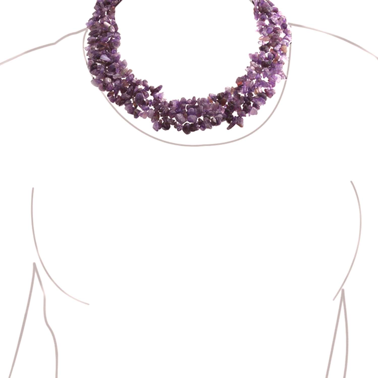 Chunky Purple Amethyst Stone Chips Statement Bib Necklace For Women Collar Stretch Bracelet For Wom