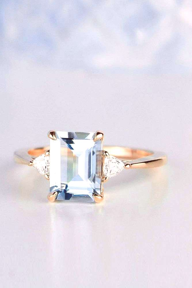 colored engagement rings rose gold engagement rings emerald cut engagement rings aquamarine engagem