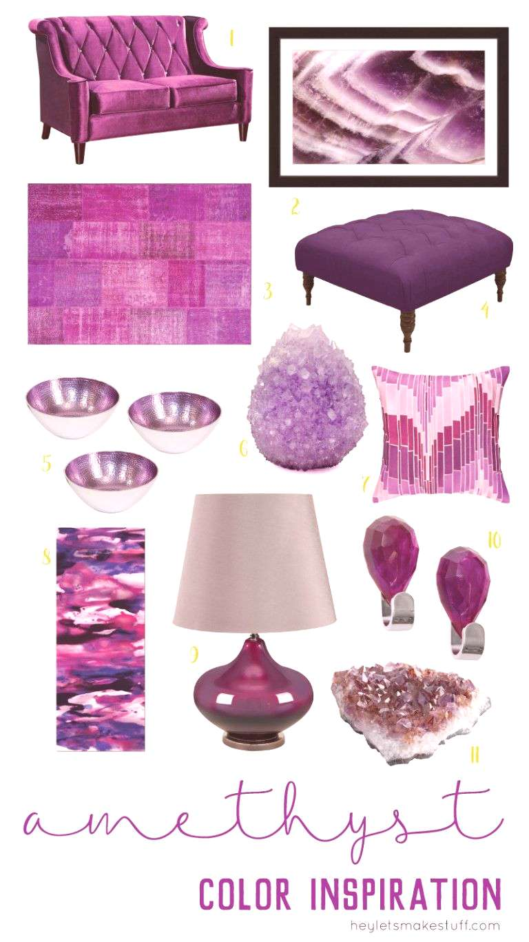 Decorating with amethyst brings vibrancy and passion to any space. Pair it with metallics like gold
