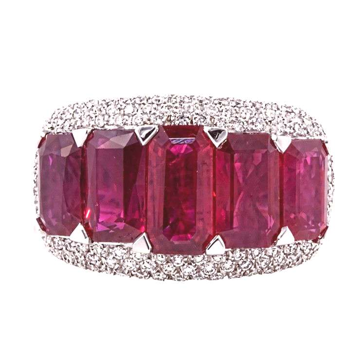 emerald cut ruby diamond ring