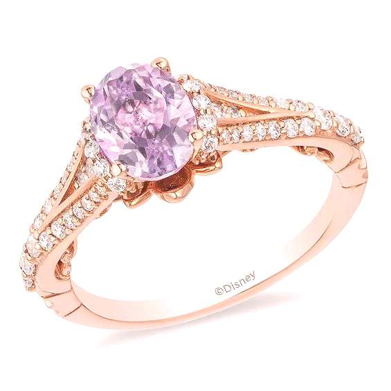 Enchanted Disney Rapunzel Oval Rose de France Amethyst and 1/3 CT. T.w. Diamond Engagement Ring in
