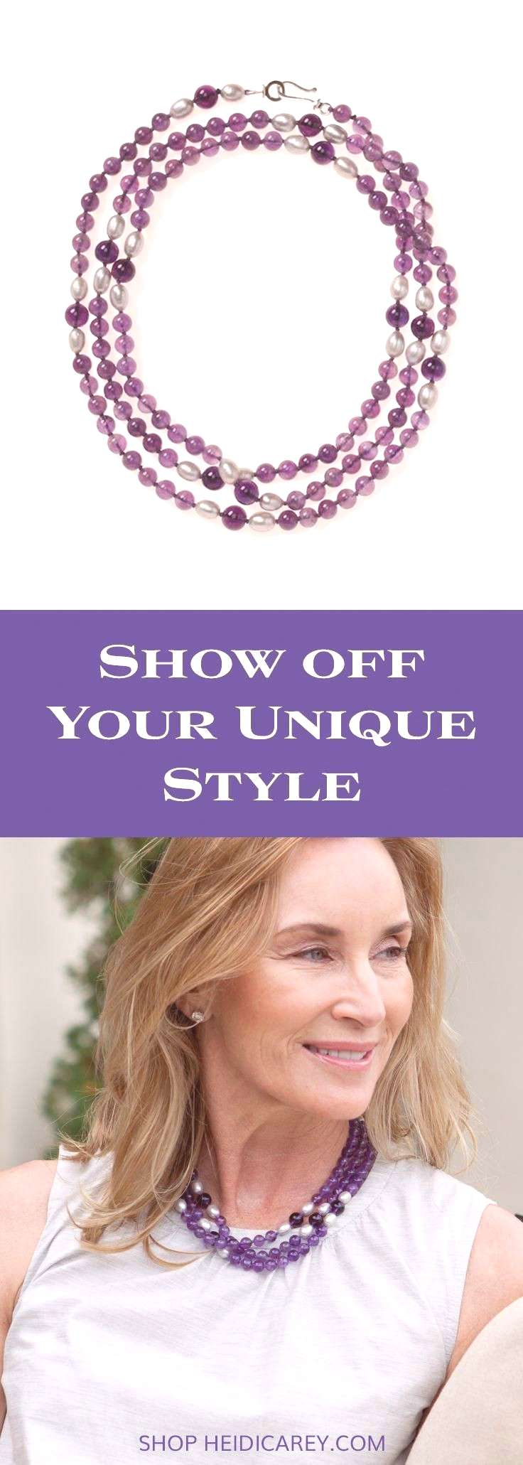 Enliven your summer outfits with a pearl and amethyst that can be worn in a number of ways, making
