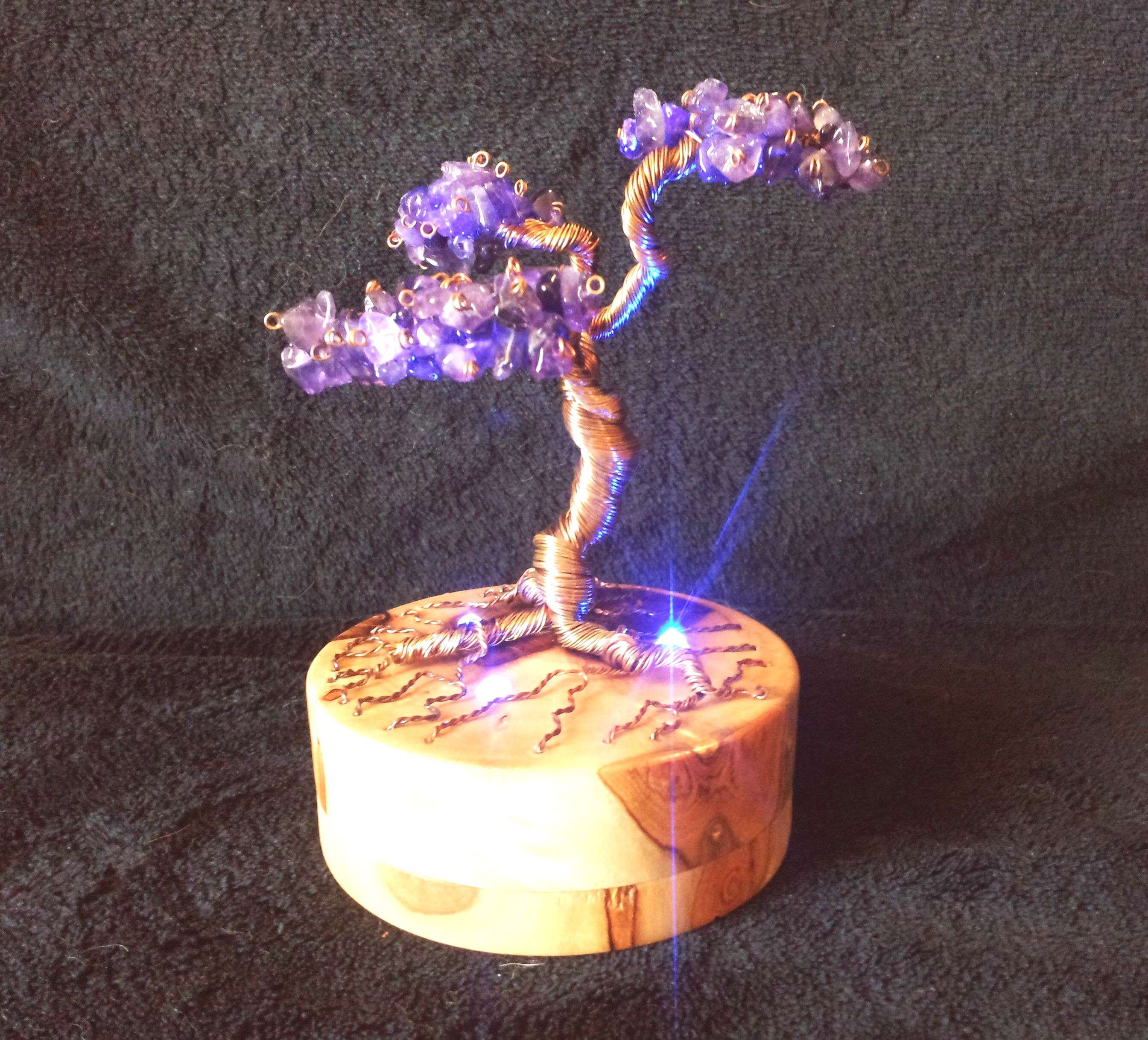 Excited to share this item from my shop: Amethyst Bonsai Tree Night Light with a laurel wood base a