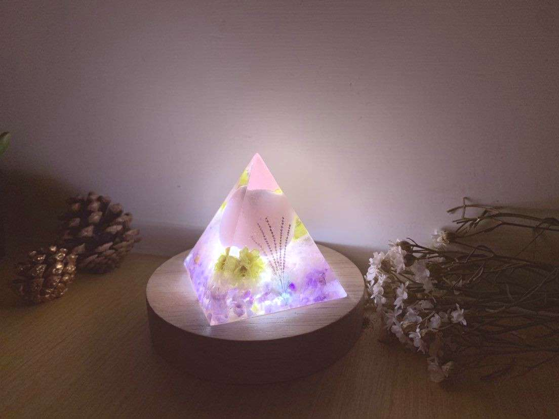 Excited to share this item from my shop: Unique Christmas Gift, Lavender Lamp, Crystal Pyramid Lamp