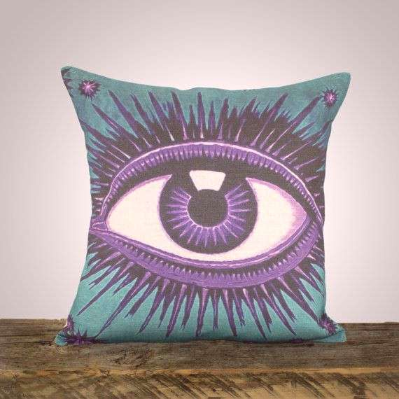 Eye Pillow Cover, Teal and Amethyst, Decorative Throw Pillow, Purple and Blue, Celestial, Zodiac, C