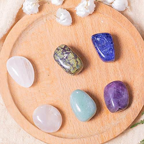 FORBY 7PCS Amethyst Tumbled Polished Stone Crystals for