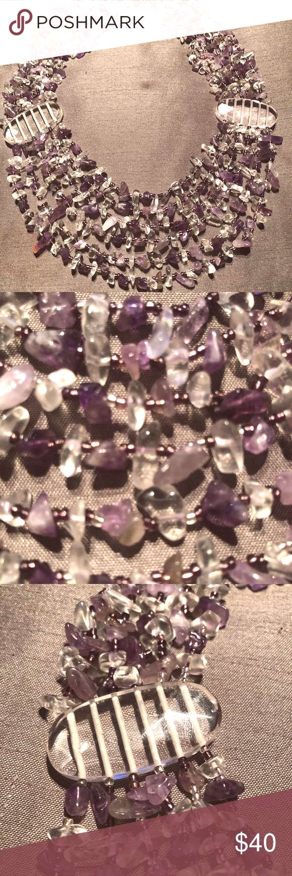 Genuine Amethyst Crystal Stone necklace Hundreds of Amethyst and Crystal stones beautifully drape y