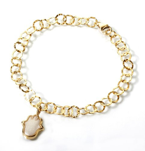 Gold Filled Hamsa Charm Bracelet with Gold Plated 925