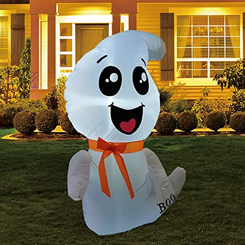GOOSH 4 FT Halloween Inflatable Outdoor White Cute Ghost,