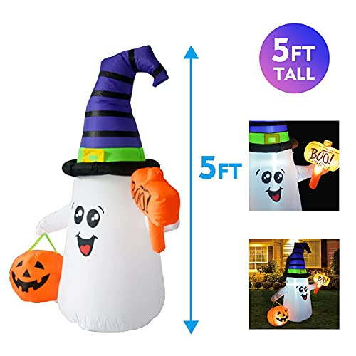 GOOSH 5 FT Halloween Inflatable Outdoor Cute Ghost with