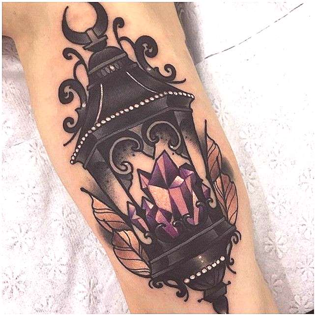gothic crystal lantern. darkness amethyst tattoo. , click for more info..