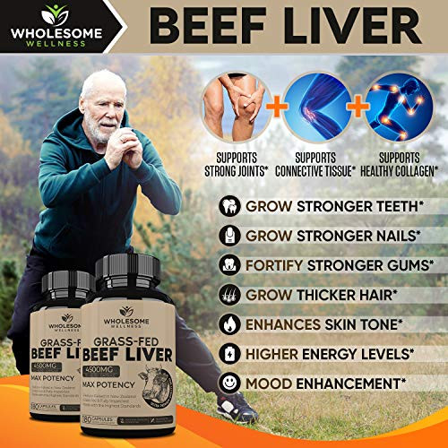 Grass Fed Desiccated Beef Liver Capsules (180 Pills, 750mg