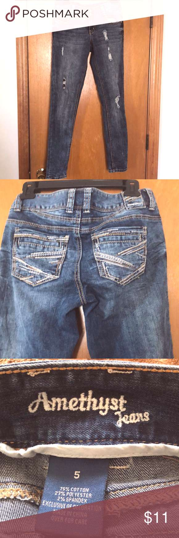 Juniors amethyst jeans size 5 ripped skinny Junior size 5 amethyst Jeans ripped Amethyst Jeans Pant