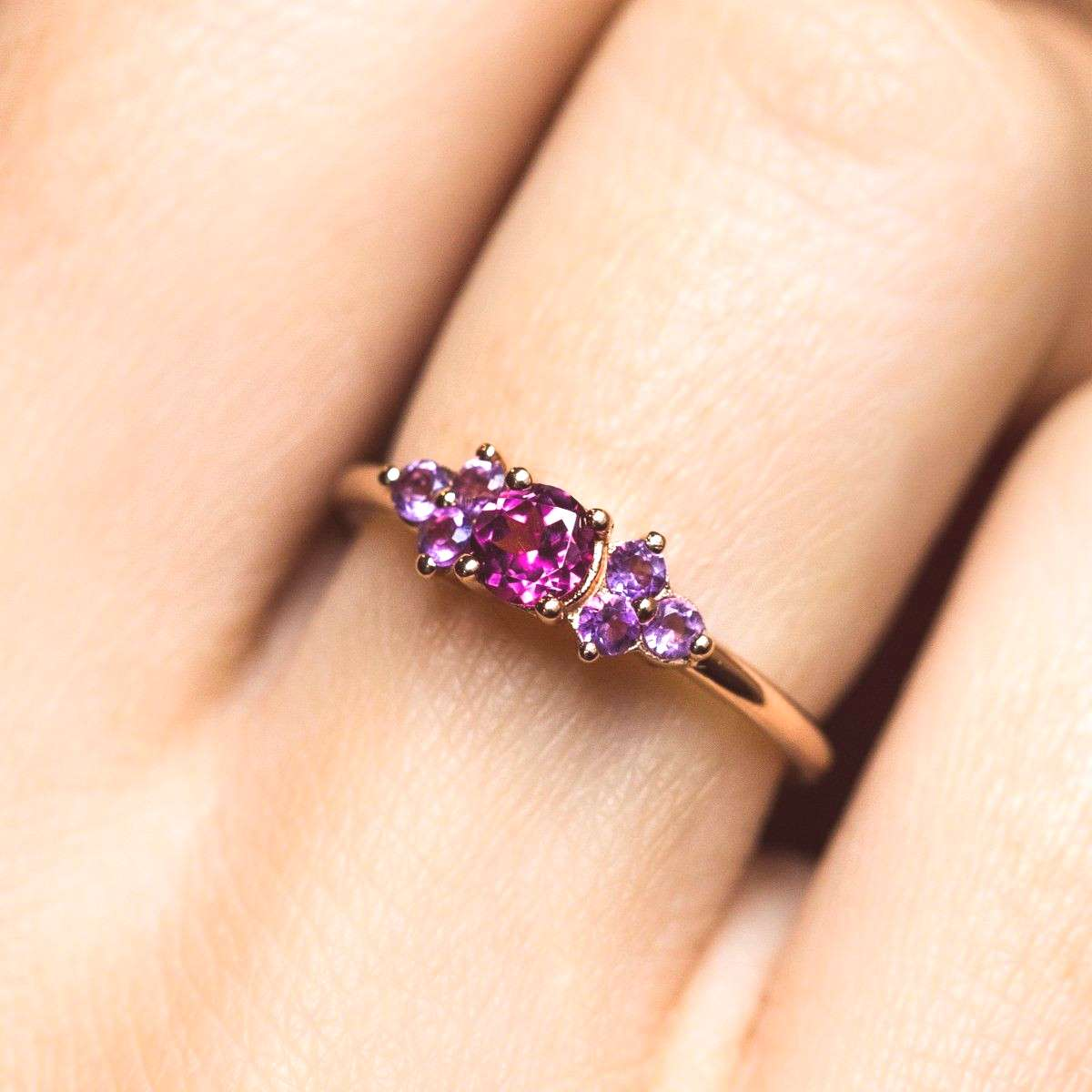 local eclectic | Leah Rhodolite and Amethyst Rose Gold Ring