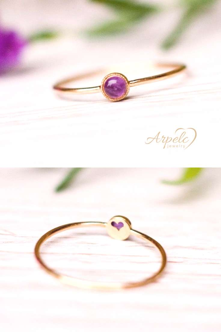 Lovely Ring With Purple Amethyst, Vintage  Delicate and pretty amethyst ring handcrafted in 14k gol