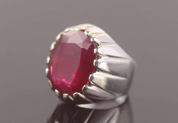 Mens Ruby Ring Yaqoot Ring Sterling Silver 925 Yaqut Ring Handmade Roby Ring Yakoot Ring Rare Red R