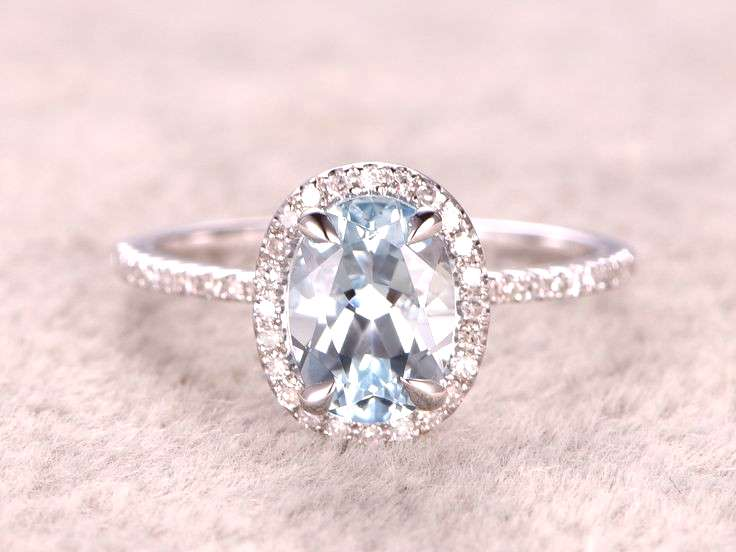 Natural Blue Aquamarine Ring! Engagement ring White gold with Diamond,Bridal ring,14k,6x8mm Oval Cu