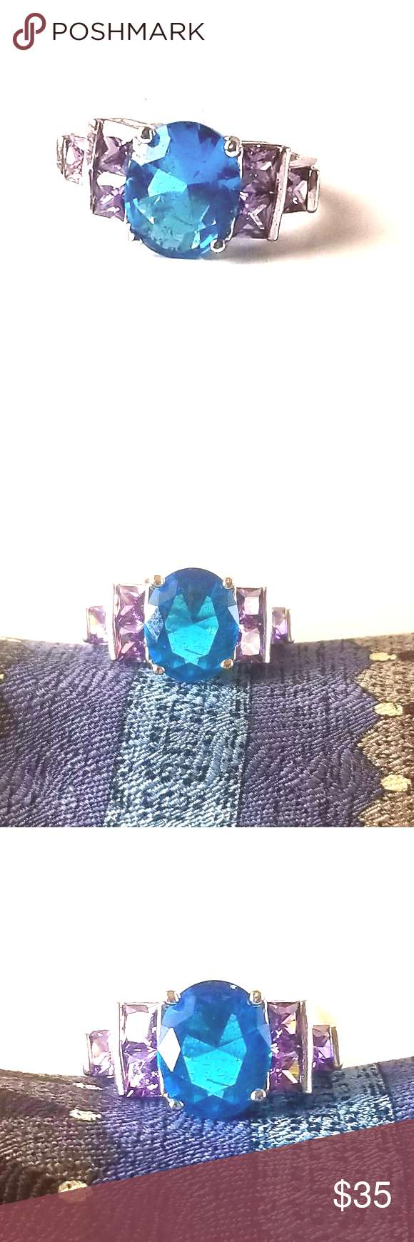 New silver blue topaz and amethyst ring size 9 Size 9 silver blue topaz and amethyst womens ring 5s