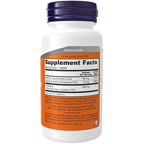NOW Foods L-Cysteine 500 mg, 100 Tablets (Pack of 2)