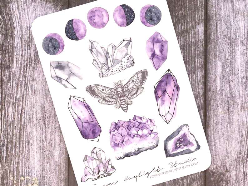 Planner Stickers Amethyst Aura Watercolor | Etsy