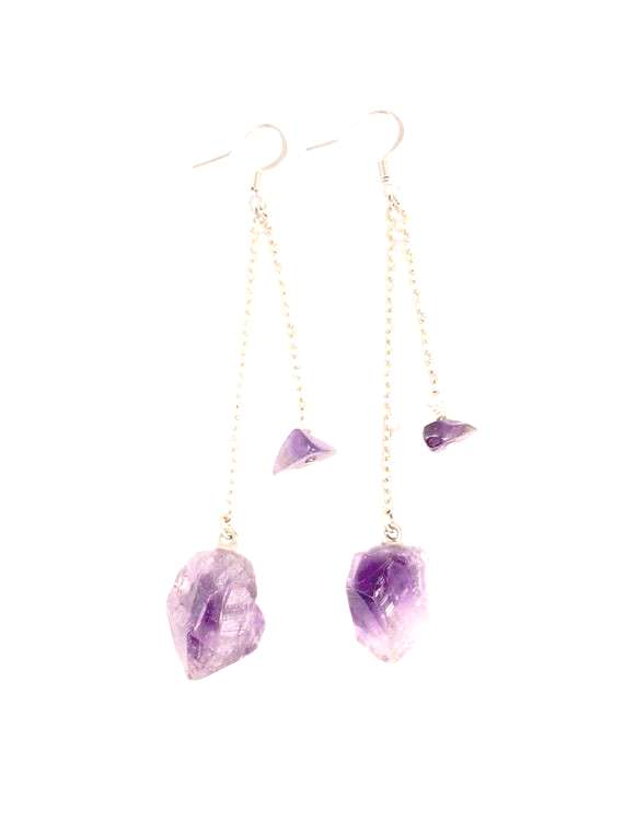 Purple Amethyst Earrings, Amethyst Dangle Earrings, Purple Stone Earrings, Raw Stone Jewelry, Boho