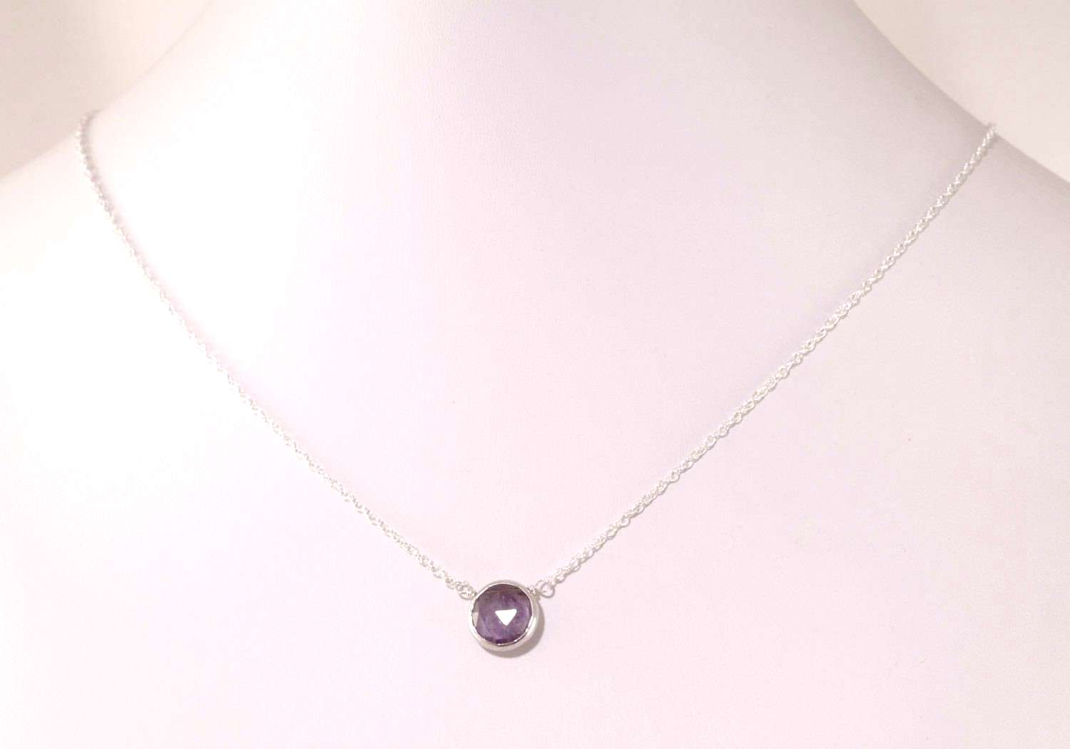 Purple Amethyst Necklace Silver
