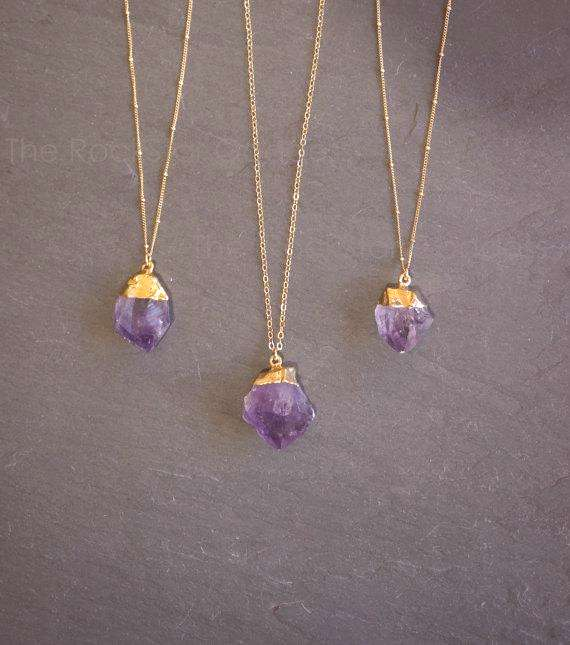 Raw amethyst crystal, plated in gold on a gold filled chain, in your choice of Satellite or Link ch