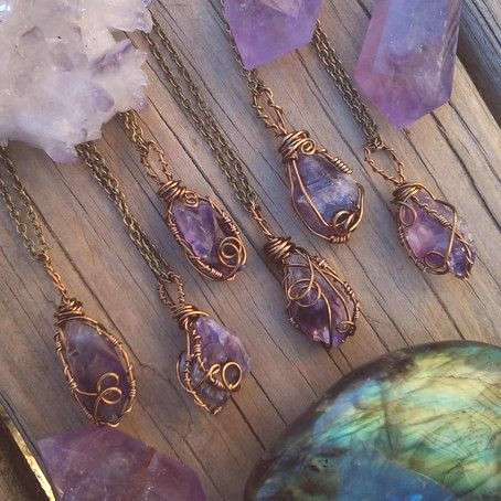Raw Amethyst necklace, amethyst necklace, crystal necklace, purple stone, wire wrapped, crystal , f