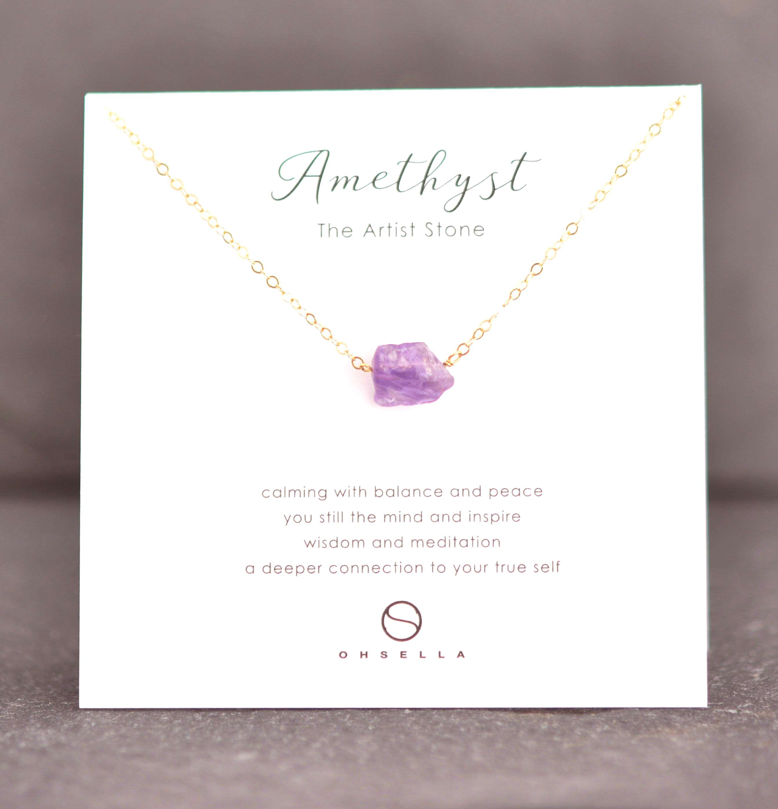 Raw Amethyst Necklace, Crystal Necklace, Rough Crystal Necklace, Bridesmaid Gift, Raw Purple Amethy