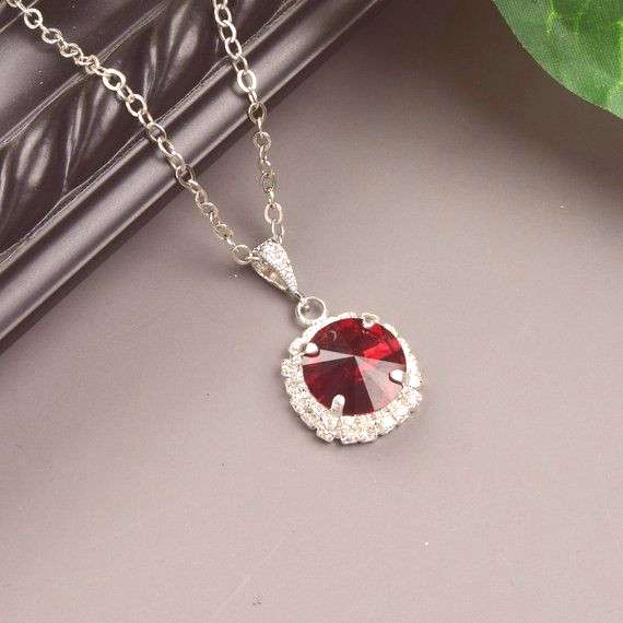 Red Bridal Necklace Silver Ruby Crystal Bridesmaid Jewelry Red Wedding Jewelry for Bridesmaids Swar