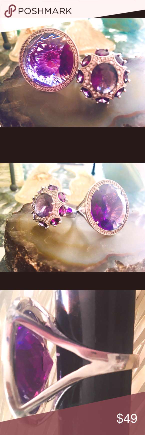 RegalRoyal Purple Amethyst Crystal Cocktail Rings Gorgeous Pair of Two Size 10 Royal Purple Synthet