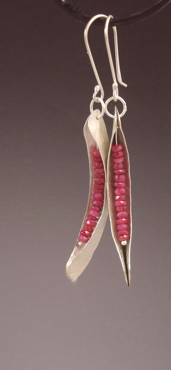 Ruby and silver fold formed dangle earrings by slathered. -