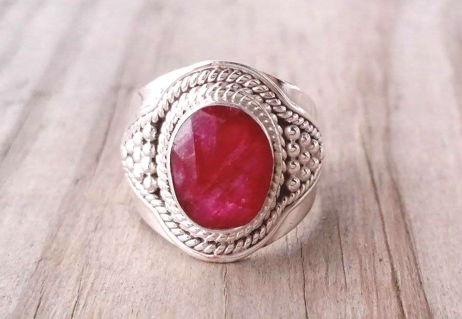 Ruby Ring - Red Ruby Gemstone Ring - July Birthstone Ring - Sterling Silver Ring - Ruby Jewelry - E