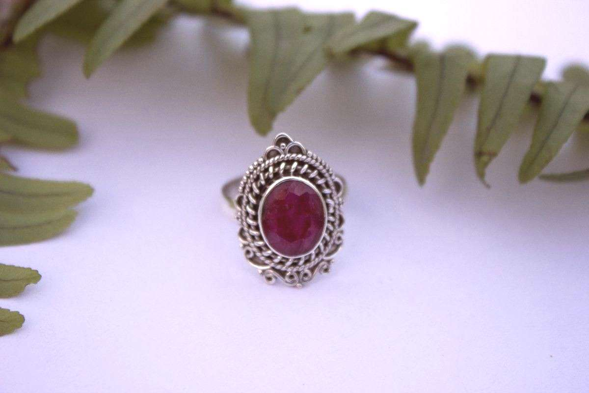 Ruby Ring, Red Ruby Gemstone Solid 925 Sterling Silver Ring, July Birthstone Ring, Boho Rings