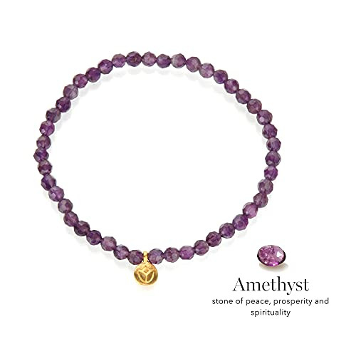 Satya Jewelry 4mm Amethyst and 18K Yellow Gold Plated Mini