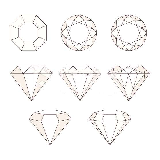 Set of isolated gem stones.Vector set of diamond design elements....