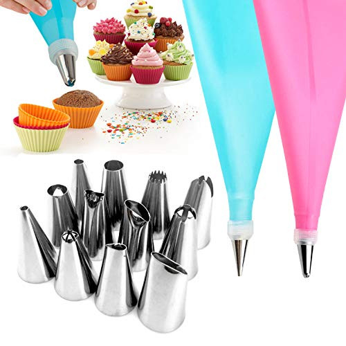 Silicone Cream Pastry Bag with 12 Nozzle 2 Reusable Piping